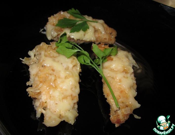 Рецепт: Куриные наггетсы с сыром в духовке
