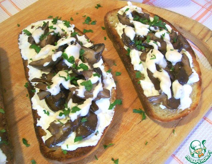 Рецепт: Брускетта с лесными грибами
