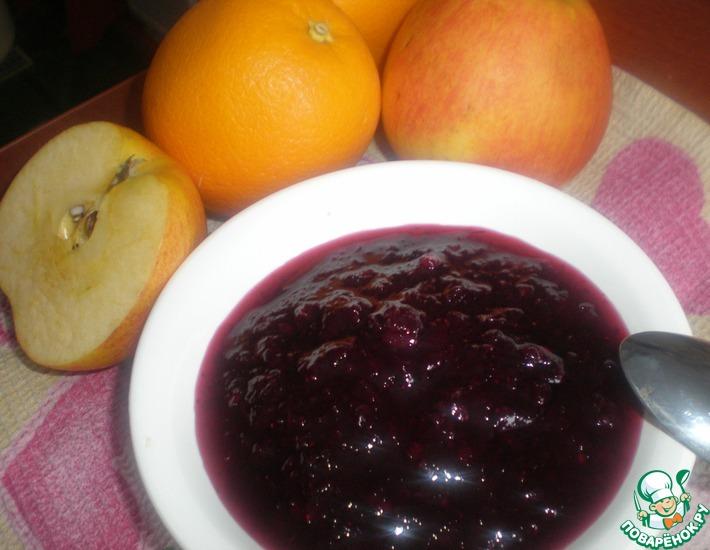 Рецепт: Брусничное варенье с апельсинами и яблоками
