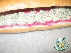 Потом слой с зеленью. Можно добавить зеленый лук.