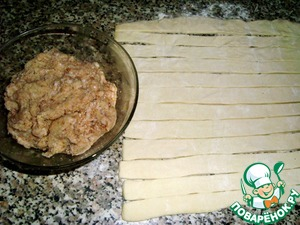 From yogurt, soda, salt and flour knead the dough.  Roll the dough 1 mm thick and cut into strips 2 cm wide.  In minced chicken add the onion, salt, black pepper to taste.