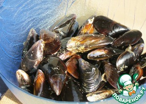 Perhaps, the most labour-consuming preparatory process. The mussels have already passed special processing, filtering. However, you must thoroughly clean and rinse the shells of mollusks from all external growths. If some clams already opened, must be discarded.