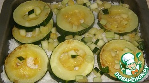 And again a layer of zucchini. Salt