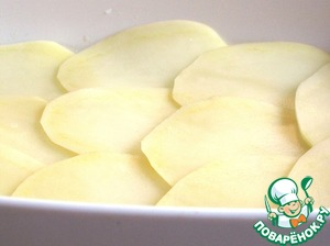 Then put a layer of potatoes. Season with salt and pepper again lightly and drizzle with olive oil.