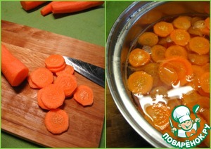 Carrots cut into slices and boiled 5 minutes in salted water. Drain in a colander, rinse with cold water and let it drain.