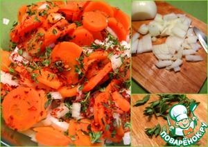 Cut the leaves of thyme. Chop onion.  Mix carrots, onion, thyme leaves, Cayenne pepper, salt.