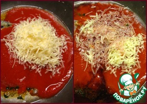 ...the wine, add 2 tablespoons of Parmesan, stir well and cook for 2 minutes under a lid over medium heat.  Season the sauce with pepper, add the sugar and salt to taste.