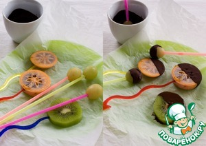 The fruit is cut into fairly thick slices, to see deeply into each slice stick, skewer or straw, lay a Board with parchment paper and place the fruit on paper. Send in the freezer for at least an hour.  After fruit is frozen, melt the chocolate, white and black, to get the fruit and dip them in the chocolate. Kiwi freeze I did not, as an experiment, I decided to dip it fresh. And as a result has suffered a complete fiasco - kiwi flew off of the ugly sticks and plopped into the chocolate.  Draw conclusions - pre-freezing required!