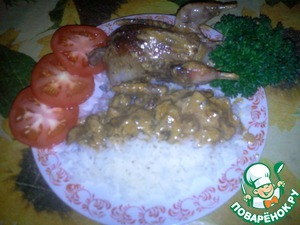 Serve with rice sauce, pickles and a glass of vodka.  It is a pity that photo can not convey the scent that wafts through the house.