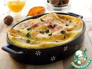 Запекать в разогретой до 200 градусов духовке в течение 30-35 минут.   Перед подачей посыпать рублеными грецкими орехами и мятой.