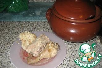 Рецепт: Курочка в яблочно-чесночной сметанке