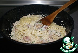 """Pasta cooked al dente (literally """"by heart"""", i.e. it should remain slightly undercooked), drain in a colander and put in the sauce, stir and heat all together for a few moments."""