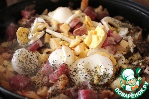 Add slices of cheese, bacon, boiled sliced eggs,