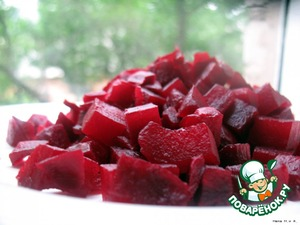 Beets cooked until tender and cut into cubes.
