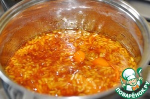 Add the rice and cook for another 5 minutes.  Before serving, allow to cool completely.