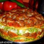 Пирог с фрикадельками и зеленым горошком