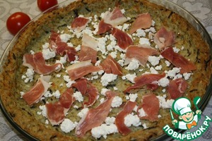 Then the rice Foundation crumble goat cheese (I have cheese) slices, cover it with slices of jamon.
