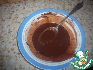 In a bowl mix cocoa and coffee. Fill with boiling water, stir and set aside.