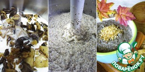 In a small pan to shift the fried mushrooms with potatoes and pour the cream. Whisk the soup using a blender and cook about 10 minutes on small fire.