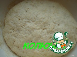 Now knead the dough: sieve the flour and add the yeast.  Sugar and salt dissolve together with the oil in warm water, pour in the flour.  Mix, put in warm place to rise.