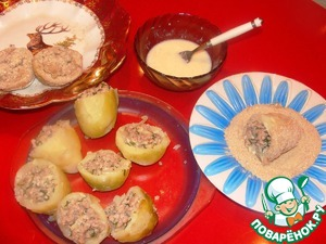 Beat egg with sour cream. Dip stuffed potato halves in the resulting egg mixture and roll in breadcrumbs.
