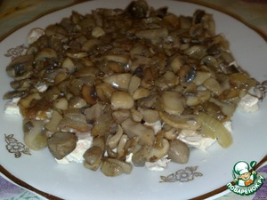 The second layer-mushrooms with onions.