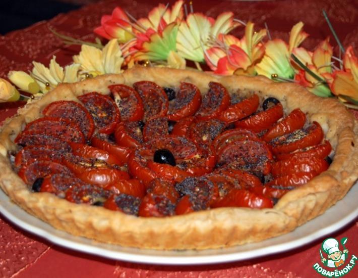 Рецепт: Открытый пирог с помидорами Томатная роза