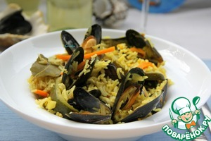 """See how they open up the shells in this wonderful Mediterranean """"pilaf""""!"""