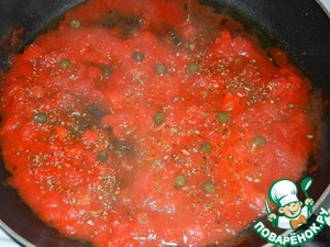 After 5 minutes, once the tomato mixture comes to a boil, add oregano, capers, salt and pepper mix (I used a mix of pink, white and black) to taste.