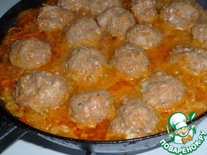 Add rice, salt, pepper, pour water so that it was above the surface content is 3-3,5 see to Put the meatballs and simmer on low heat, covered, until tender