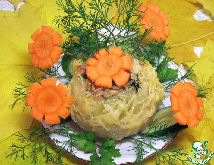 Рецепт: Лук фаршированный со сливочно-сырным соусом