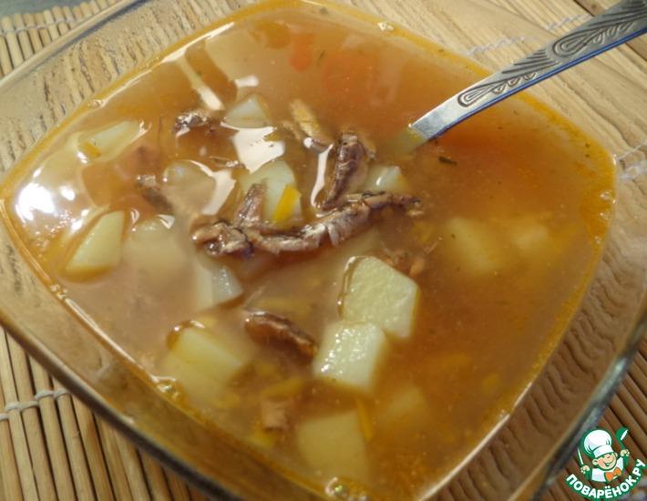 Рецепт: Рыбный суп из кильки в томате