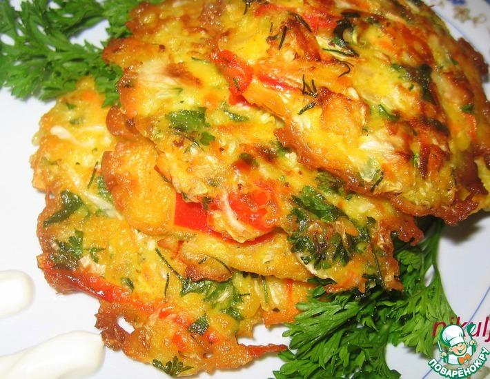 Рецепт: Овощные драники Калейдоскоп
