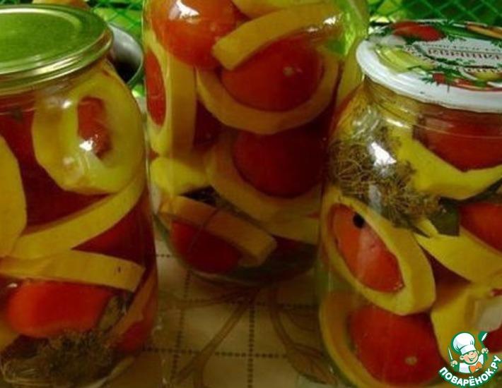 Рецепт: Маринованные помидоры в кабачках