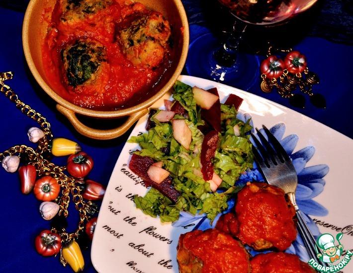 Рецепт: Фрикадельки из чечевицы и шпината в томатном соусе
