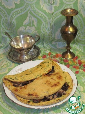 Рецепт Блины из гороха с  начинкой из грибов и печени трески.