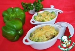 Рецепт Жюльен с брокколи, болгарским перцем и грибами