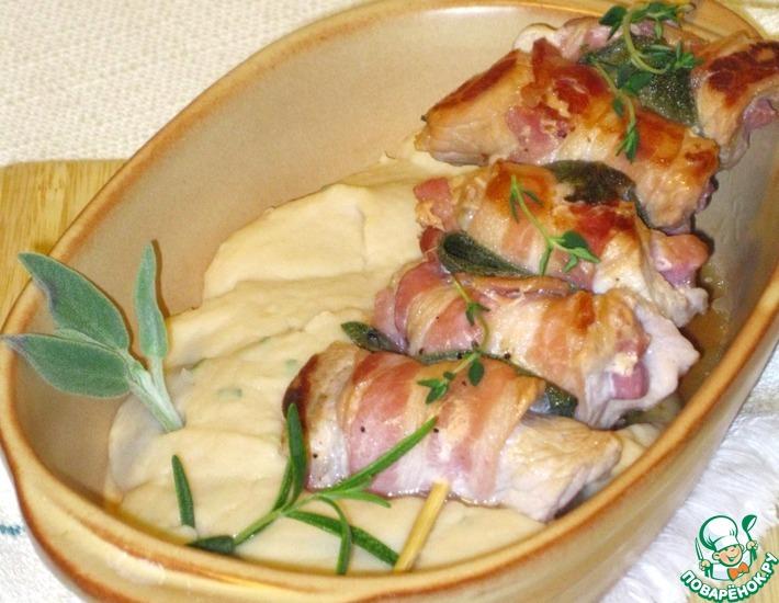 Рецепт: Улетевшие птички с тосканским пюре из фасоли