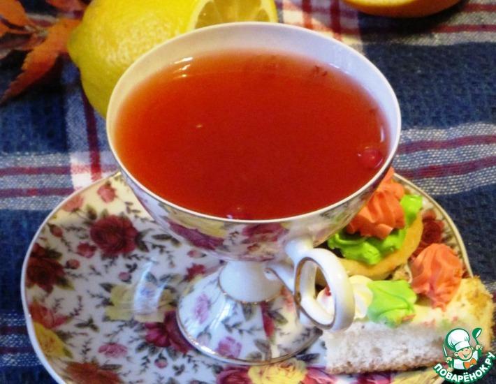 Рецепт: Клюквенный чай с цитрусовыми