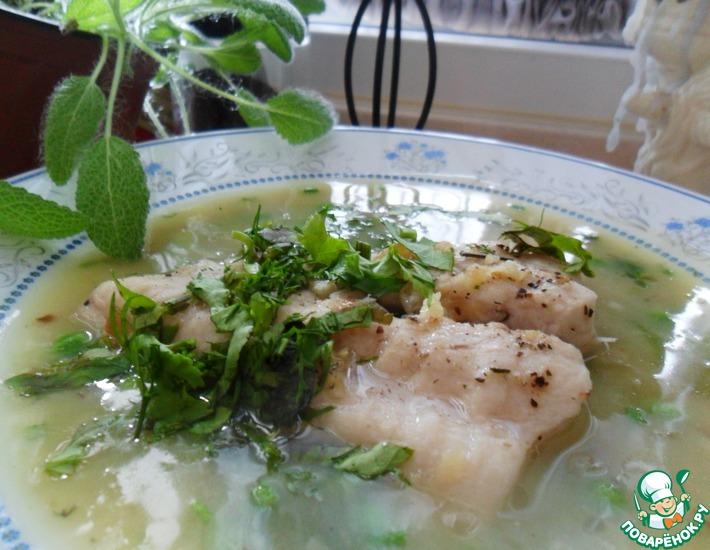 Рецепт: Суп-пюре с рыбой и зеленым горошком