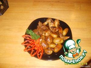 На гарнир может быть картошка, макароны, рис или просто овощи, приятного аппетита!