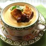 Суп-пюре из чечевицы с тофу и грибами