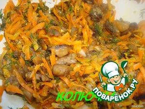 Делаем начинку: грибы, лук, морковка и мякоть. Все  обжариваем. Когда остынет, кладем мелко нарубленную зелень.