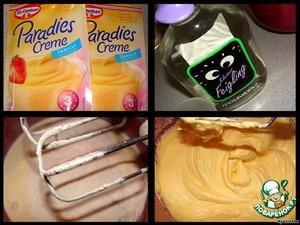"""Пока корж печется, сделаем крем:    просто смешиваем сливки, 100 мл водки и крем-порошок ванильный """"Парадиз"""" - все взбиваем 3 минуты - крем готов.   Думаю, за неимением готового крем-порошка, можно сделать для этого торта заварной крем (рецептов заварного крема на """"Поваренке"""" много).   Не нашла дома простой водки, использовала инжирную (Feige-Wodka), она, правда имеет только 20 градусов вместо 40, но раз написано на бутылке """"водка"""", значит это водка :)"""