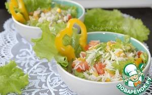 Рецепт Постный салат из риса с зеленой фасолью