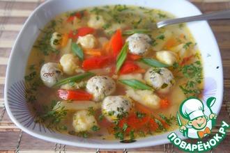 Рецепт: Суп с фрикадельками и клецками Весенний