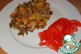 Рецепт: Нежный картофель с шампиньонами и стручковой фасолью