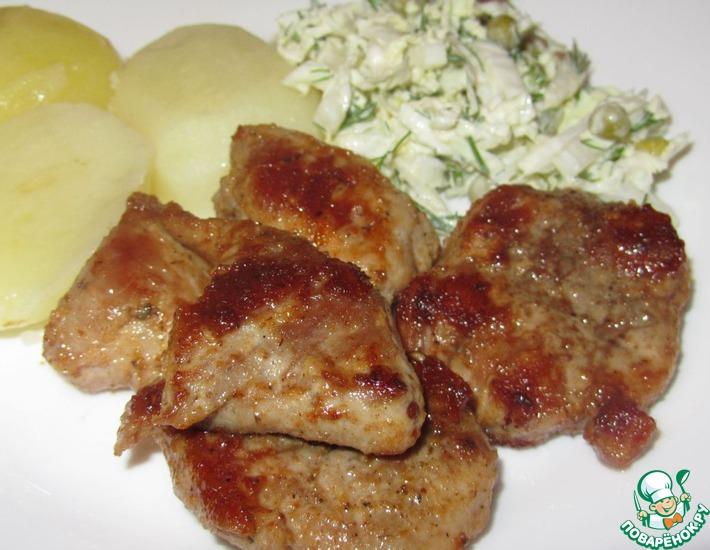 Рецепт: Свинина жареная с лимоном