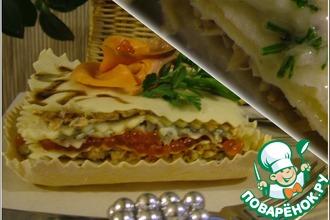 Рецепт: Лазанья с рыбой и горгонзолой. Холодный и горячий варианты