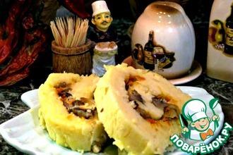 Рецепт: Постный картофельный рулет с грибами